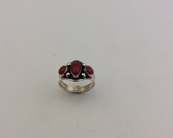 3 stone red coral sterling silver ring