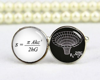 Black Hole Cufflinks, The Paradox Equation, Custom Any Text Or Photo, Personalized Cufflinks, Custom Wedding Cufflinks, Groom Cufflinks Gift