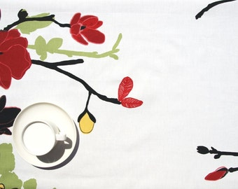 """Tablecloth white yellow red flowers black green tree 37""""x56"""" or order your size, runner , napkins , curtains , pillows available, great GIFT"""