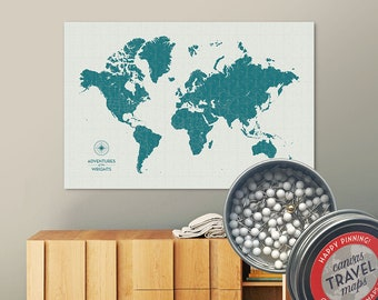 Vintage Push Pin Map (Lagoon) Push Pin World Map Pin Board World Travel Map on Canvas Push Pin Travel Map Personalized Gift for Family