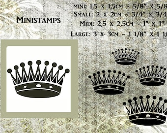 """Ministamp """"Mini"""",""""SMALL"""",""""MIDI"""" and""""LARGE""""-antique crown3 mounted on woodpeg or on clingfoam."""