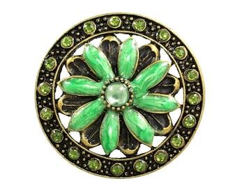 Set of 2 - Jewel cloisonne knobs - green