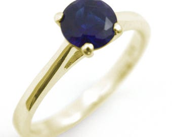 Diamond-Unique 1ct Sapphire Solitaire Engagement Ring 9ct Gold (108)September Birthstone