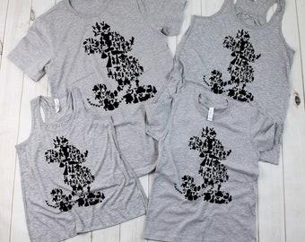 Disney Mickey full  Silhouette Shirts | Family Disney Shirts | Women's Tank Top | Disney T-shirts for Girls/Boys