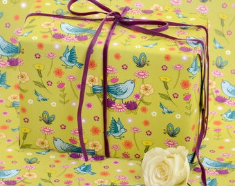 Gift Wrap 1 Sheet - Bluebirds - Gift Wrapping Paper - Gift Wrapping - Wrapping Paper - Garden Wrap - Birds Wrap -Birthday Gift Wrap