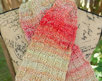 IN STOCK - Ready to Ship! / Basket Weave Scarf in Apple Festival - Handspun and Hand Dyed Superfine New Zealand Wool