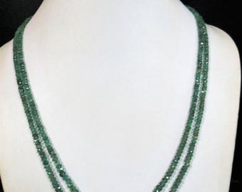 2-strand Natural Genuine Real Emerald Multistrand Stone Bead Faceted Rondelle Necklace Gemstone Jewelry Gift woman Green Beads jewellery
