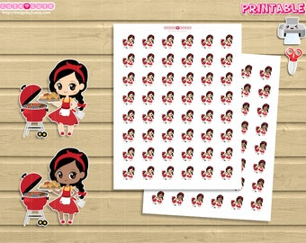 Chic BBQ Printable planner sticker. Cute backyard barbecue stickers, Print and Cut at home kawaii stickers.