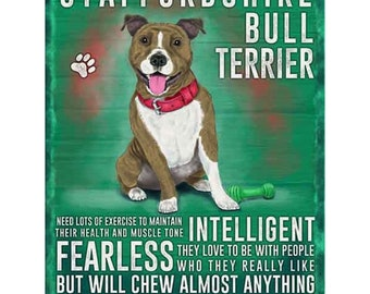 Staffordshire Bull Terrier Metal Sign