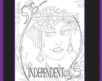 Adult Colouring Page, Printable Adult Coloring Book Page,Inspirational Quote, African American Flappers, LineArt Instant Download Printable