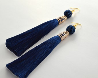 Long Tassel Earrings Blue  Tassel Earrings Silk tassel earrings Tassel Jewelry Long Earrings Threader Earrings Threader Jewelry Gift for her
