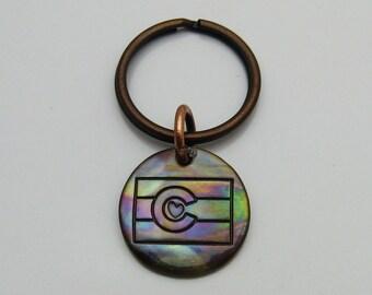 Copper Colorado Flag Keychain, Rustic Copper Keychain, Colorado Pride, Colorado State Flag, Colorado Souvenir, Colorado Lover, Love Colorado