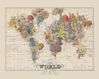 vintage map art small bouquet floral world map art