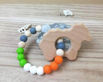 Irish Flag Baby Sheep Silicone and Wooden Beads Rattle / Bagel St Patrick's Toy   teenytinybtq