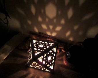 Octahedron ceramic candle holder / shadow lamp, with remote control RGB LED light