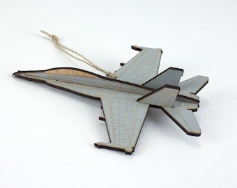 Wooden F-18 Fighter Jet Christmas Ornament