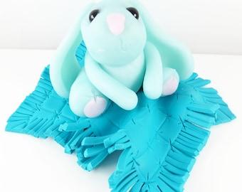 Ice blue clay bunny cake topper decoration keepsake