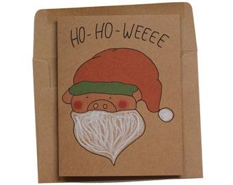 ho ho ho Christmas card  Santa Claus card funny Christmas card pig funny merry Christmas card - pig santa illustration
