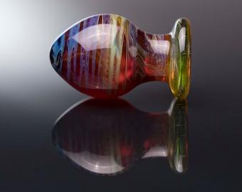 Glass Anal Plug - Medium - Green & Indigo