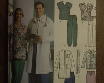 Simplicity 5443, sizes XL to XXXL, uniforms, scrubs, mens, womens, UNCUT sewing pattern, craft supplies