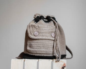 Kids crochet backpack, taupe handmade backpack, kids rucksack, knitted backpack, summer backpack, beige backpack, mini backpack for children