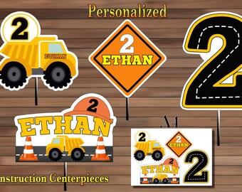 Construction Centerpiece, Construction Party Favor, Construction Birthday Centerpiece, PDF