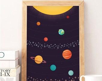Planets illustration, Solar system print, Nursery art, Kids space art, Planets print, Nursery poster, Kids room art, Cute poster
