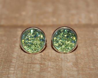 Olive Green Druzy Earrings