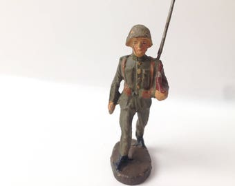 Vintage Elastolin Lineol Composition Toy Soldier with Rifle on Shoulder