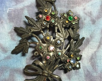 Vintage Metal Unsigned Bouquet Pin with Rhinestones