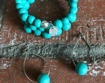 Wood bead wrap bracelet with matching earrings