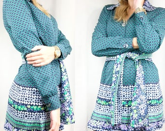 Boho dress with pleated skirt / Short hippie dress / Reclaimed vintage clothing / Size Small 38 10 8