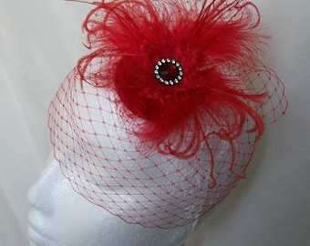 Small Vintage Style Bright Scarlet Red Blusher Veil & Feather Mini Percher Wedding Fascinator Headpiece - Made to Order