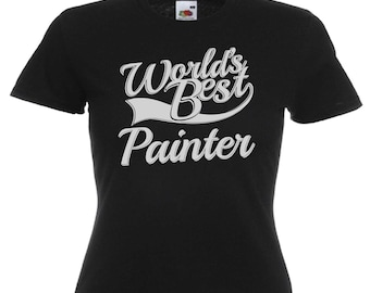 World's Best Painter Gift Ladies Women's Black T Shirt Sizes From UK size 6 - UK size 16