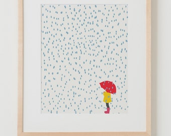 Fine Art Print. Girl with Umbrella in the Rain. February 6, 2014.