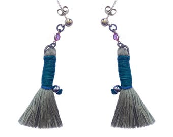 Sage Gray Tassels With Pink Glass Detail
