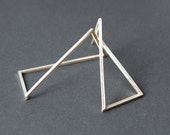 Statement geometric minimalist long rectangular silver earrings