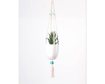 With white planter, hanging H77cm macrame plant holder