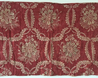 Beautiful, Rare 18th C. Wood Block Printed Linen Quilted Floral Fabric (2325)