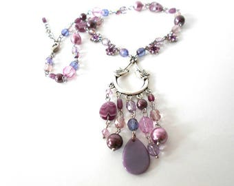Purple birds and flowers necklace