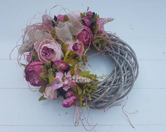 Wreath//door pendant//gift//All time//peony//Old Rose Red//rugged//decoration//gift mother, girlfriend//brocant//door wreath