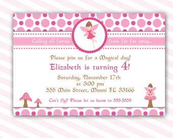 Pixie Fairy Birthday Invitation Card for Girl - Printable Personalized Digital File Baby Girl Shower Invite 1st Birthday Party or Any Age