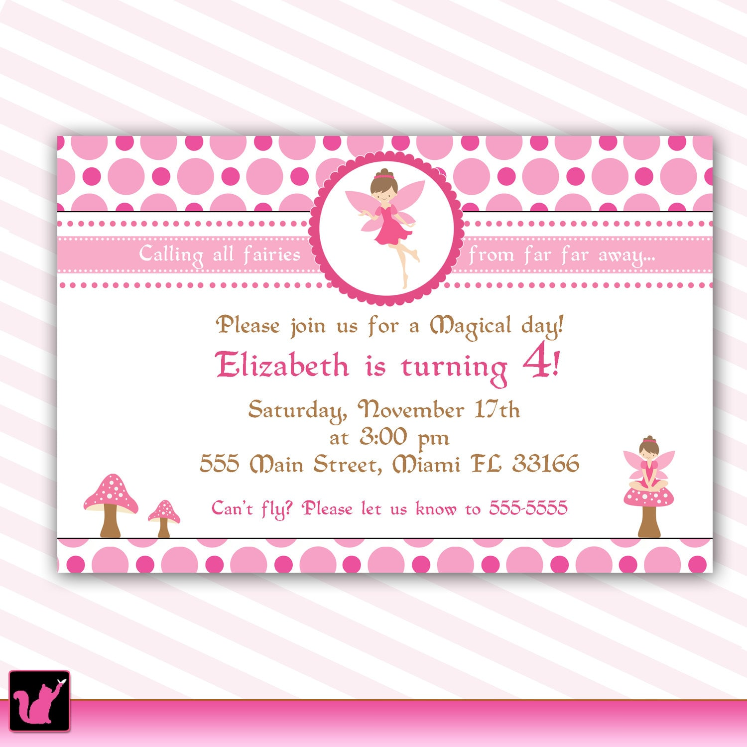 Pixie fairy birthday invitation card for girl printable zoom stopboris Image collections
