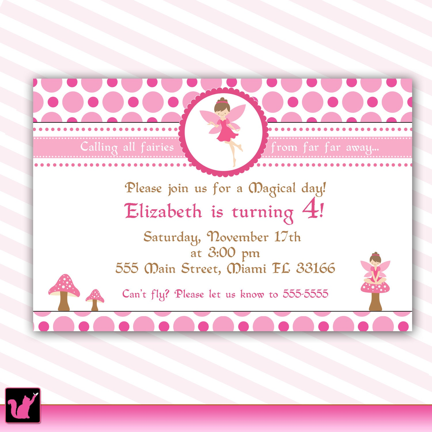 Pixie Fairy Birthday Invitation Card for Girl Printable