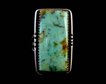 Size 9 Vintage Navajo Sterling Silver Rectangular Ring w Heavenly Blue Gem Turquoise! Versatile All-Time Classic!