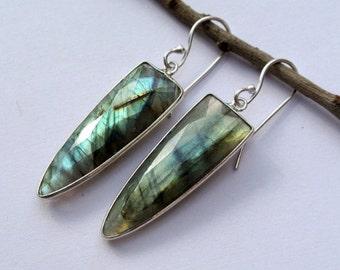 Sterling Silver Bezel Set Labradorite Dagger Earrings // Gemstone Earrings // Semiprecious Stone earrings, Handmade Earrings Bridal Earrings