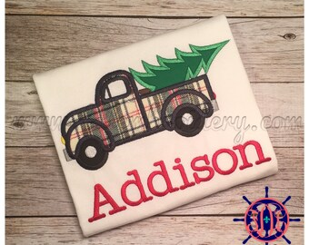Boy's Old Time Truck with Tree, Old Time Truck with Christmas Tree Applique Shirt, Truck and Tree Applique Shirt