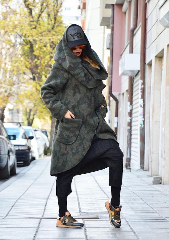 Womens Sleeves Extravagant Coat Coat Zipper Long Cashmere Military Asymmetryc by Coat Warm SSDfashion Winter d8xwXt6