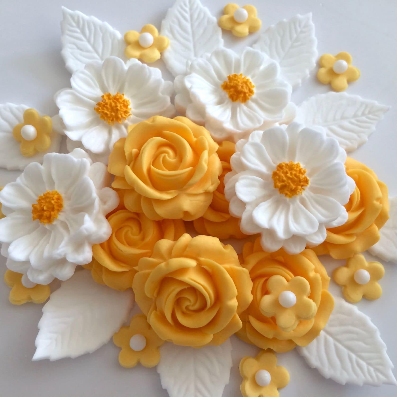 APRICOT ROSE BOUQUET edible sugar paste flowers cake
