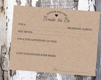 Advice for the Bride to Be Card - Printable